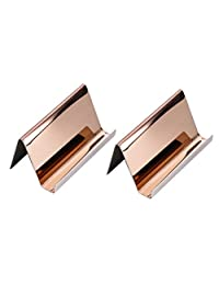 NUOBESTY Metal Business Card Holder Identity Card Display Stand for Office Supplies (Rose Golden) 2pcs