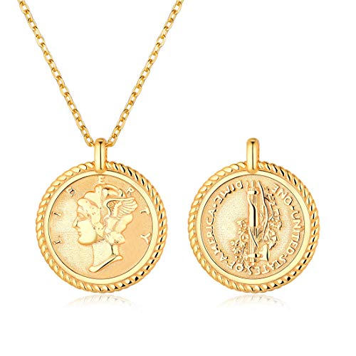Coin Necklace 18K Gold Plated Sterling Silver Coin Round Medallion Pendant Necklace Vinatge Jewelry for Women Men ()