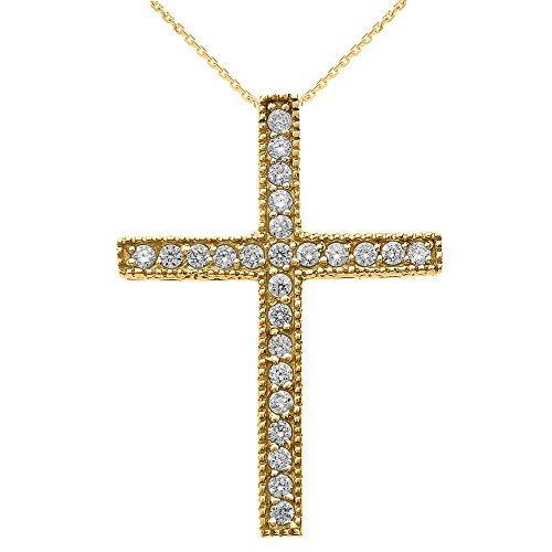 Collier Femme Pendentif 10 Ct Or Jaune Milgrain Bordé Diamant Croix (Livré avec une 45cm Chaîne)