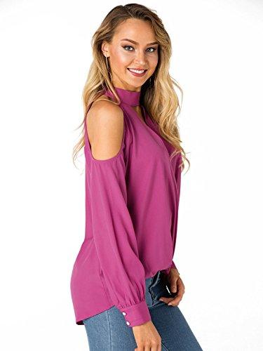b442006d90e YOINS Women Blouse Crossed Front Design Cold Shoulder V-Neck Lantern  Sleeves Top Rose Pink M