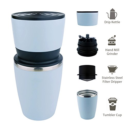Kohi - All in One, Ultra Portable Manual Coffee Grinder and Portable Coffee Brewer with Vacuum Sealed Tumbler Cup (Blue) (Portable Burr Grinder)
