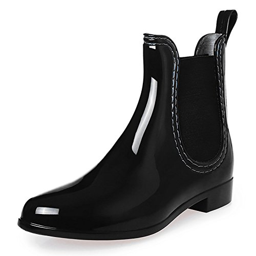 Women Boots Flat Wellies Boots Ladies Chelsea Boots Fashion Black Rain BAINASIQI Shoes Comfort Ankel 1qxRxwY