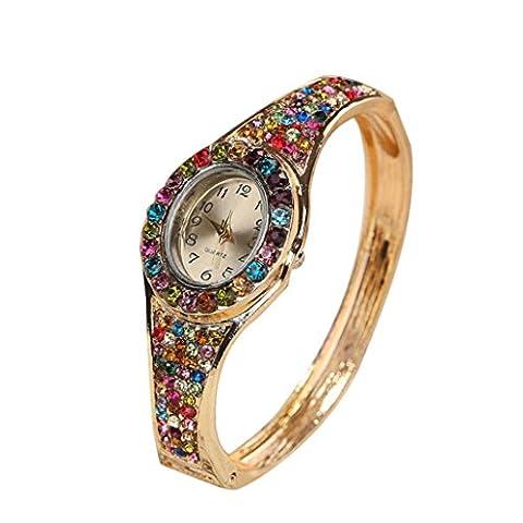 Ecurson Women Oval Full Diamond Bracelet Watch Analog Quartz Movement Wrist Watch (Multi-Color) - Juicy Full Diamond