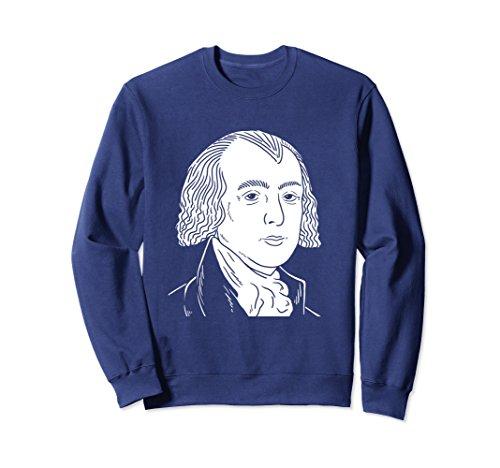 Unisex James Madison Portrait Sweatshirt – President Gift Large Navy