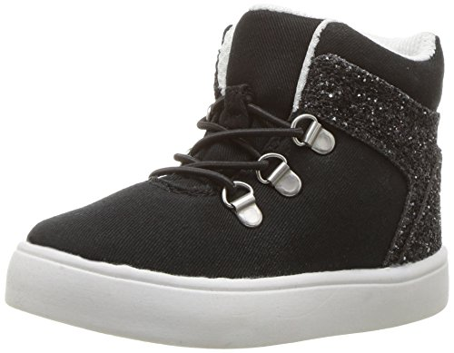 carter's Girls' Prima4 High-Top Sneaker, Black, 11 M US Little Kid