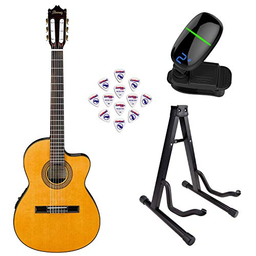 Ibanez GA5TCE 6 String Classical Guitar - Amber High Gloss with Front Row Guitar Stand, tuner and pick sampler (IbaGA5TCE Bundle3) (Ibanez Stand)
