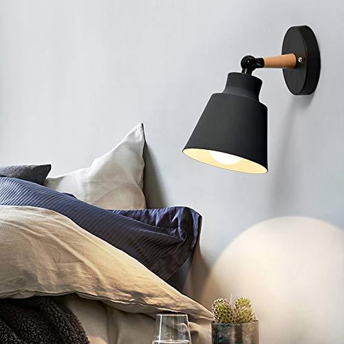 Wall Light fixtures Nordic Wall Sconce Lamps Macaron Edison Copper lamp Holder Aisle Lights Corridor Lamp Bedside Reading Light E27(Color : Black)