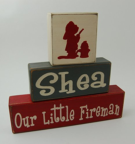 Fireman Wood Sign - Personalized Name-Our Little Fireman - Primitive Country Wood Stacking Sign Blocks Fireman Home Decor Birthday - Nursery Room - Baby Shower Gift