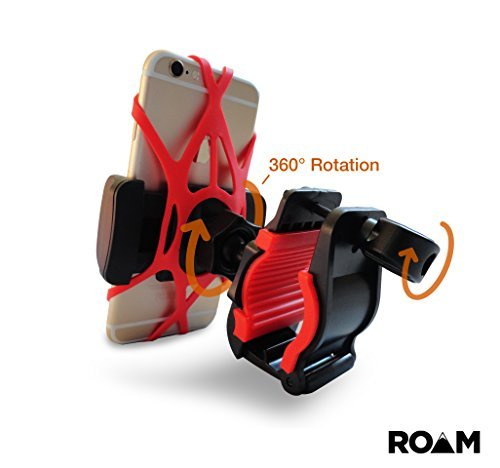 "Roam Universal Premium Bike Phone Mount Holder for Motorcycle / Bike Handlebars, Adjustable, Fits iPhone 6s / 6s Plus, iPhone 7 / 7 Plus, Galaxy S7, Holds Phones Up To 3.5"" Wide,"