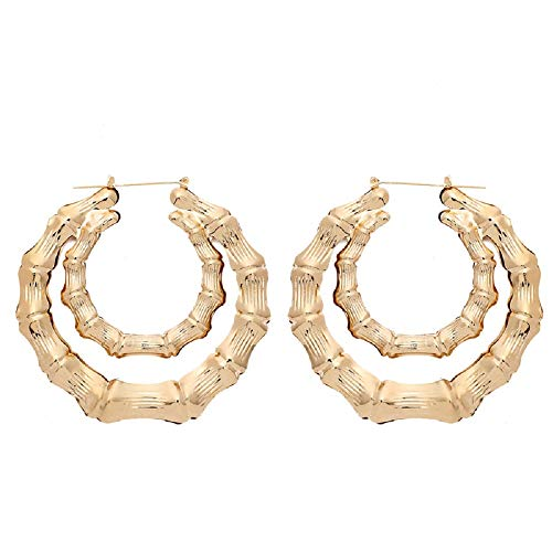 Bamboo Bone Geometric Circle Round Heart Hoop Earrings Rectangle Gold Tone For Women Statement Party Hip-Hop Jewelry-Double Circle