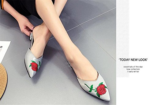 Toe Women's c Grey 1 Flat Loafers Slippers Embroidered Flat Pointed Sandals Shoes excellent qw1xXZEw