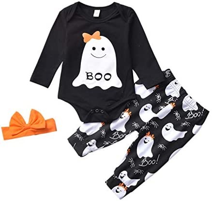 Newborn Baby Girl Halloween Outfit Boo Romper Bodysuit and Ghost PantsOrange Headband 3PCS Clothes Set