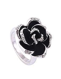 Acefeel Retro 18K White Gold Plated Czech Drilling Enamel Flower Ring Valentine's Day Gift R163