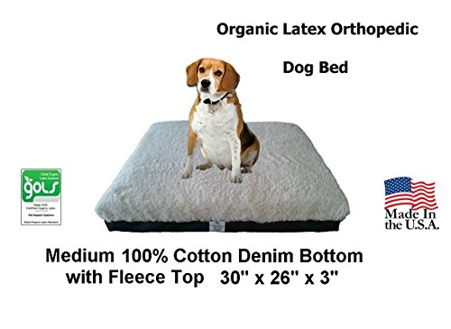 Pet Support Systems Certified Organic Latex | Orthopedic Pet Bed | 30″ x 26″ x 3″ | (Medium, Blue Denim with Fleece Top) For Sale