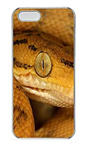 iPhone 5 5S Case Yellow Snake Closeup Animal PC Custom iPhone 5 5S Case Cover Transparent