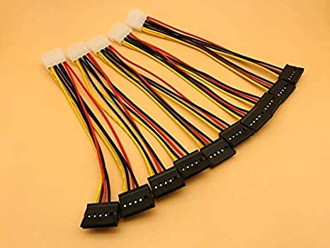 Cable Length: 20CM ShineBear 5PCS SATA Power Cable 4pin Male to Serial ATA 15pin x 2 Female Y Hard Drive Cables 20CM Splitter Molex for Bitcoin Miner Mining