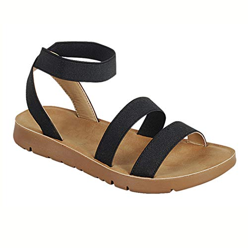 Women's Flat Sandals Cross Slingback Double Elastic Band Strappy Open Toe Slip-on Summer Slides Black ()
