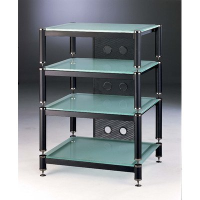 (BLG 3-Shelf Amp Stand/Audio Rack Glass Color: Frosted, Cap Color: Black, Poles Color: Black)