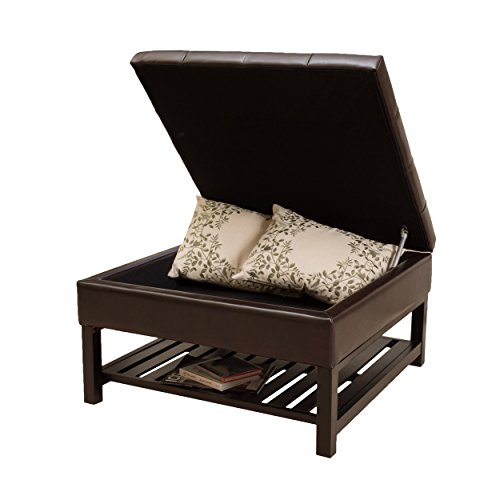 Austin Ottoman - Christopher Knight Home 296104 Denise Austin Home Finn Ottoman with Storage and Bottom Rack, Brown
