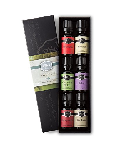 Favorites Set of 6 Premium Grade Fragrance Oils - Strawberry, Lilac, Cucumber Melon, Coconut, Gardenia, Honeysuckle - 10ml (Cucumber Perfume Oil)