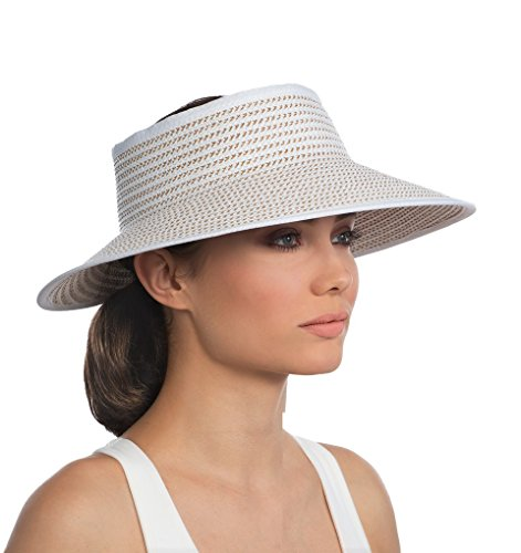 Eric Javits Luxury Fashion Designer Women's Hat - Lil Squishee Visor - White Mix by Eric Javits