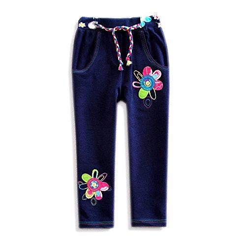 VIKITA Kid Girl Cotton Flower Long Winter Warm Pants Leggings Blue K720 5T -