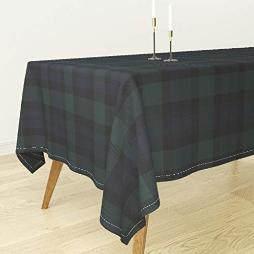 Roostery Tablecloth - Tartan Plaid Blackwatch Black Watch Preppy Classic by Peacoquettedesigns - Cotton Sateen Tablecloth 70 x ()