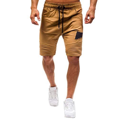 Allywit Mens Gym Drawstring Shorts Workout Training Running Shorts with Pocket Khaki by Allywit-Pants (Image #1)