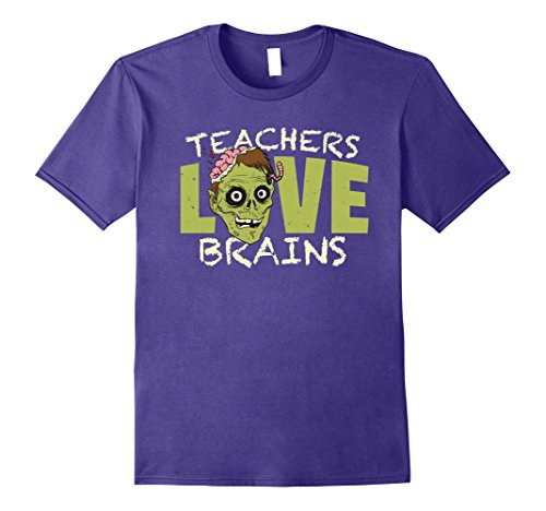 Zombie Costums (Mens Teachers love brains Shirt Funny Halloween Gift for Teachers 2XL Purple)