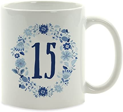 Andaz Press 11oz Milestone Birthday Coffee Mug Gift 15 Blue Floral Wreath Graphic 1 Pack Sweet 15 Mis Quince Quinceanera Birthday Girl Gift Ideas