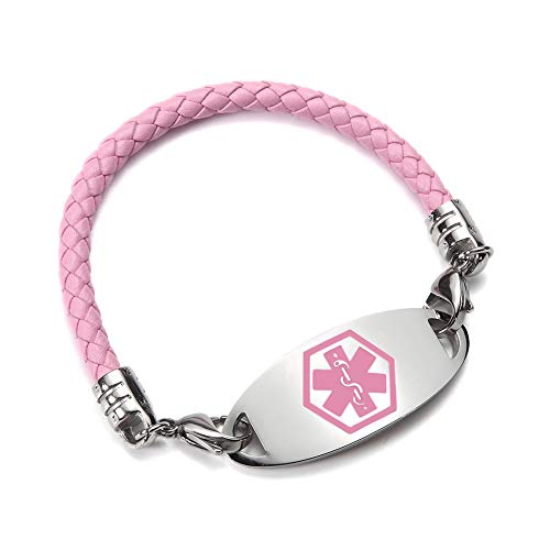 Custom Engraved Stainless Steel and Braided Leather Medical Alert ID Bracelets Pink for Child 6inch