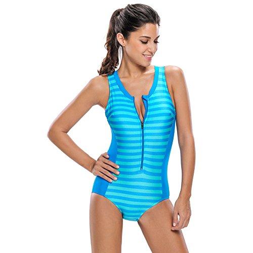 Erica Playa de las mujeres rayas sin mangas Rashguard traje de baño de una pieza Bikinis de impresión sin mangas acolchado sin hilos Bra #3