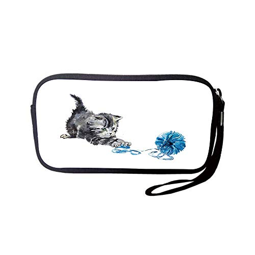 Ham Products Pet (iPrint Neoprene Wristlet Wallet Bag,Coin Pouch,Cat,Playful Baby Kitten with Ball of Yarn Furry Animal Domestic Feline Kids Pets Artwork,Grey Blue,for Women and Kids)