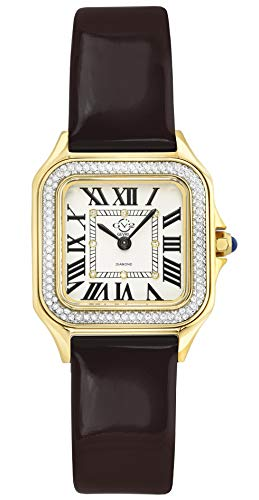 GV2 Women's Milan Gold Tone Swiss Quartz Watch with Patent Leather Strap, Brown, 16 (Model: 12102)