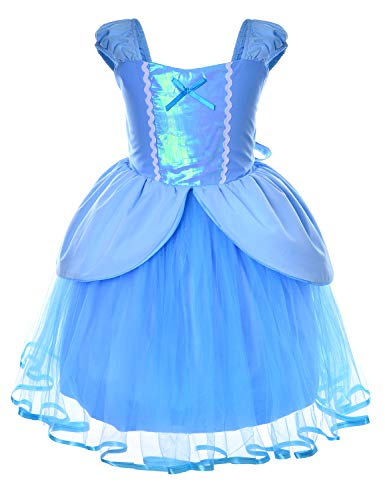 Princess Cinderella Costume Toddler Girls Birthday Dress Up with Tiara (5T 6T)