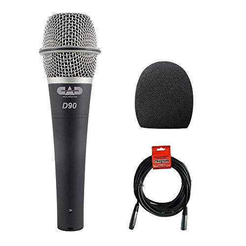 CAD CADLive D90 Supercardioid Dynamic Handheld Microphone with Foam Windscreen & XLR-XLR Cable Bundle