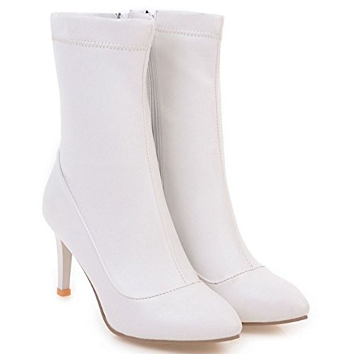 RAZAMAZA Women Boots Zipper White CXOwrh4