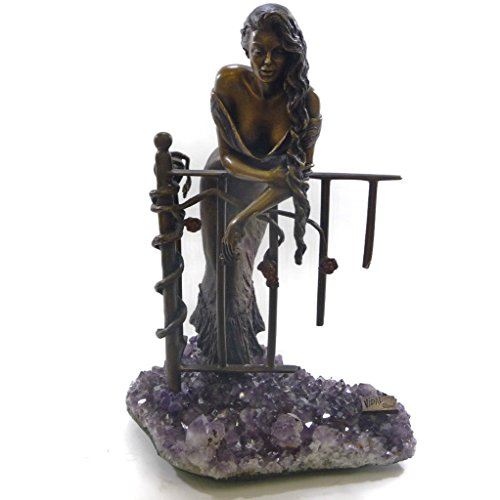 Vidal Lady on a Fance - Bronze Amethyst Sculpture