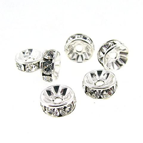 Dreambell 6 pcs Swarovski Elements Silver Plated 3mm Round Rondelle Clear Crystal Bead Spacer / Findings / - Element Spacer