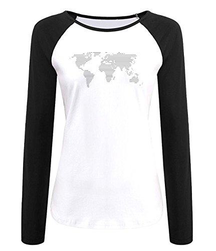 World Map Funny Raglan Long Sleeves Tshirts For Womens XS - Mall Louisiana Map
