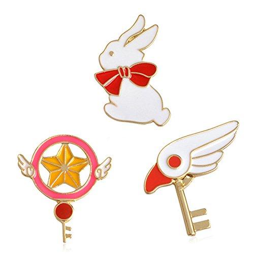 Enameled Bird Pin (SIVITE Cute Rabbit Bird Magic Wand Enamel Brooch Pin Cartoon Lapel Pins Metal Badge Set for Women Girls)