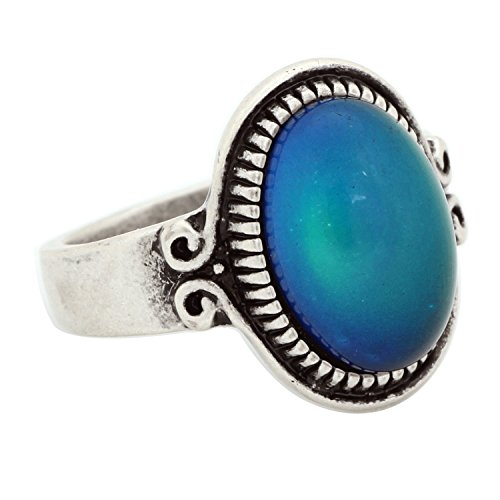 Mojo Classic Pattern Antique Sterling Silver Plating Oval Stone Color Change Mood Ring MJ-RS009 (9) (Antique Ring Size 9)