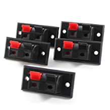 5 Pcs 45mm x 21mm 2 Positions Push in Jack Spring Load Audio Speaker Terminals