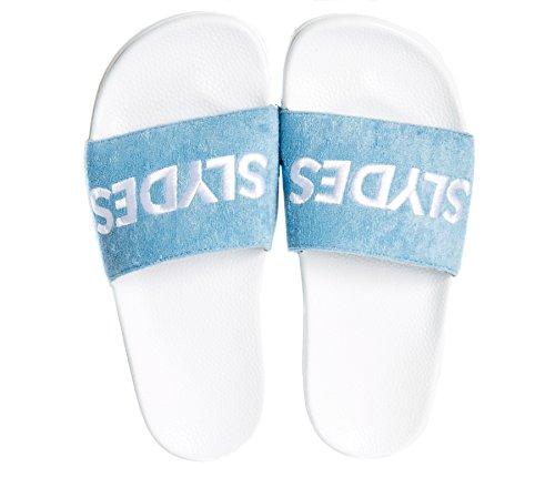 Femme Slider Slydes Sandales Blanc Bleu Plya gnpxqwX81w