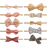 Baby Girl Headbands and bows - Nylon Headband Fits newborn toddler infant girls (Isabella Collection)