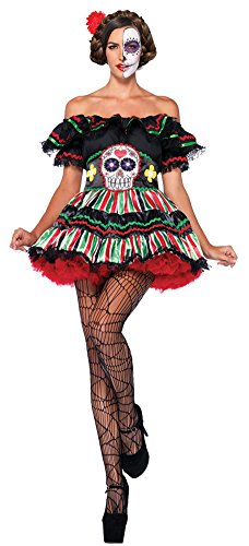Womens Halloween Costume- Day Of Dead Doll Adult Costume Medium-Large - Adult Day Of The Dead Doll Costumes
