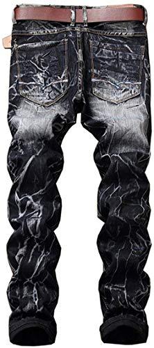 Hig Fit Retroblack Patches Dritti Uomo Torn Da Denim Biker Vintage Pants Jeans In Pantaloni Distrutto Dall'aspetto Abbigliamento qtaR7Txw