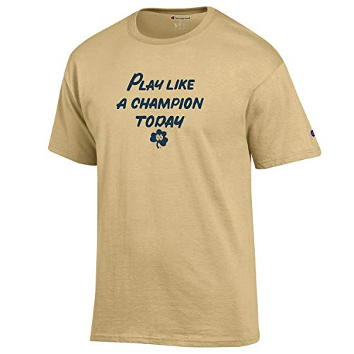 (Champion Men's NCAA Classic Jersey Script/Team Logo Cotton T-Shirt (X-Large, Notre Dame Fighting Irish/Gold Play Like)