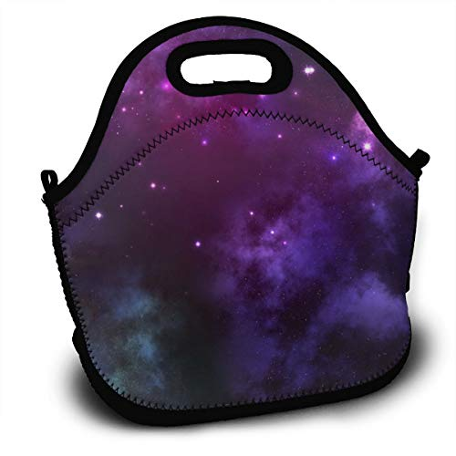(Dejup Lunch Bag Purple Space Tote Reusable Insulated Lunchbox, Shoulder Strap with Zipper for Kids, Boys, Girls, Women and)
