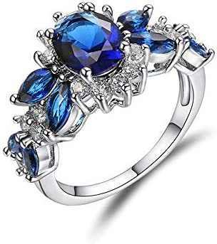 EORj98D Zirkonring Eingelegt Mit Edelsteinring Damenmode Einfache All-Match-Accessoires Geeignet Für Hochzeitsgeschenke Blau,6#